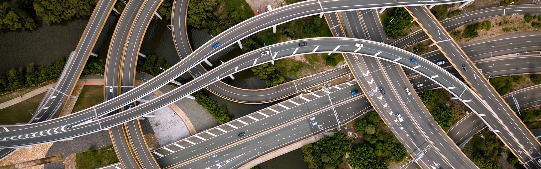 Overhead view of a complicated freeway interchange