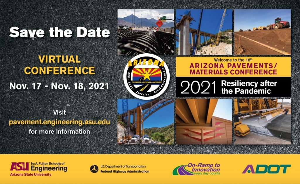 Postcard announcing the 2021 Arizona Pavements/Materials conference. Multiple inset photos of construction sites against an asphalt texture background.